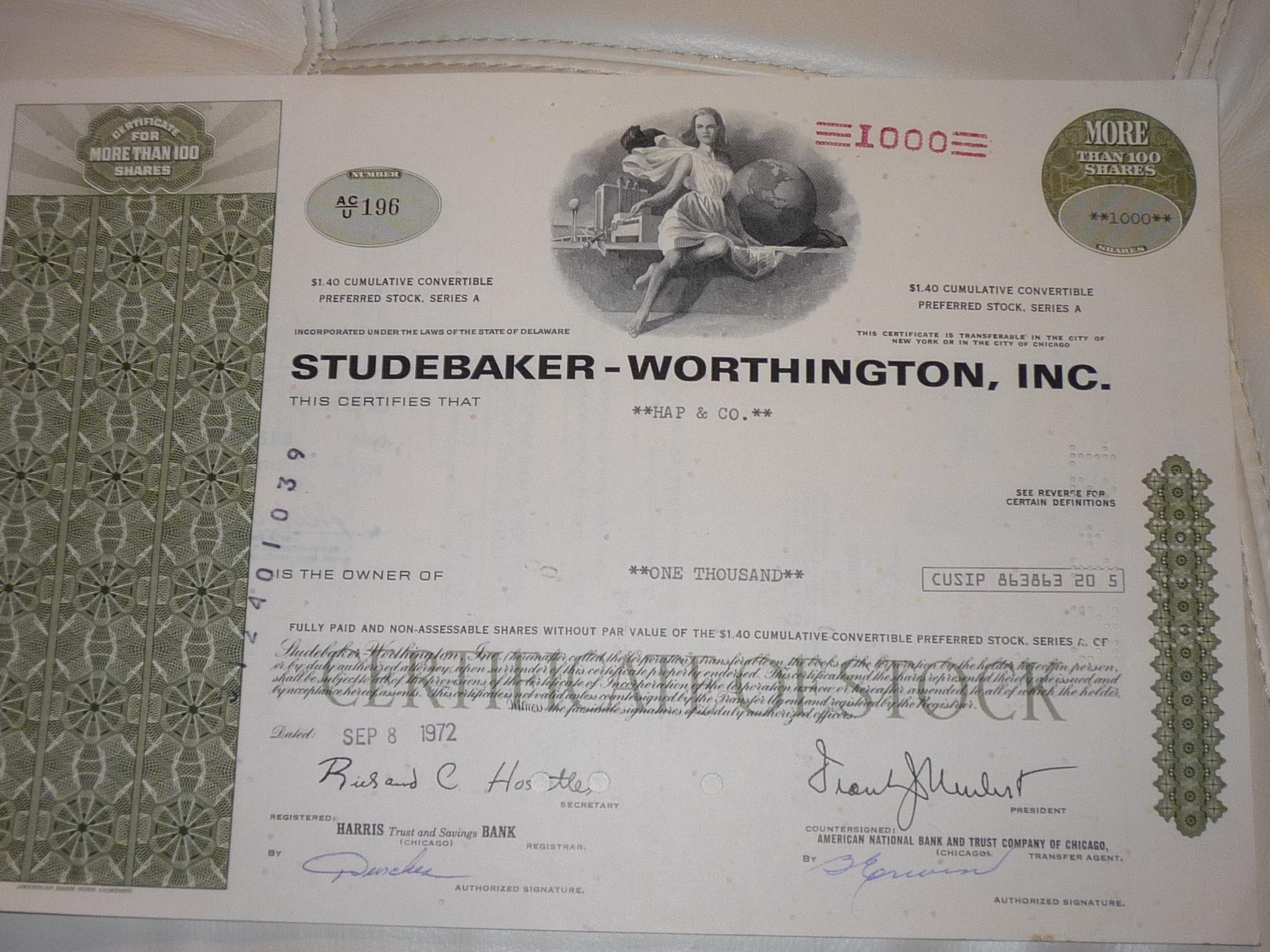Studebaker Worthington részvény USA