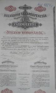 Belvárosi Takarékpénztár Záloglevél 5.000 korona 1910
