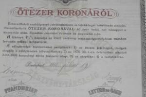 Belvárosi Takarékpénztár záloglevél 5000 korona 1910