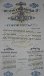 Belvárosi Takarékpénztár Záloglevél 2.000 korona