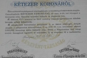 Belvárosi Takarékpénztár Záloglevél 2000 korona 1918