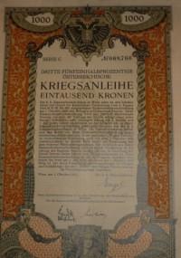 Osztrák értékpapír: Kriegsanleihe 1.000 korona 1915