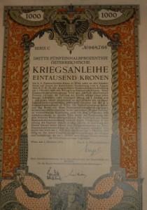 Kriegsanleihe 1.000 korona 1915