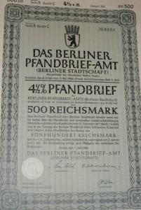 Das Berliner Pfandbrief-Amt 1940 500 Reichsmark