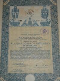 Járadékkölcsön Államadóssági Kötvény 1914 100 korona