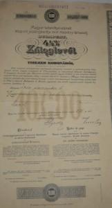 Záloglevél 1910 10000 korona