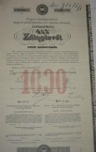 Záloglevél 1913 1000 korona