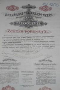 Belvárosi Takarékpénztár Záloglevél 1910