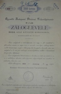 Egyesült Budapesti Fővárosi Takarékpénztár Záloglevél 1909