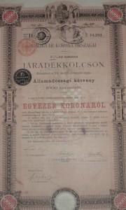 Járadékkölcsön Államadóssági Kötvény 1897