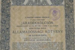 Járadékkölcsön 1915 100 korona