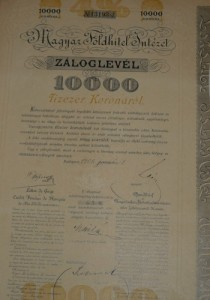 Magyar Földhitel Intézet Záloglevél 1905