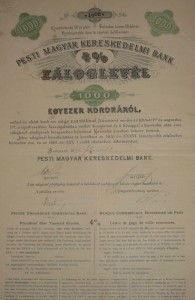 Pesti Magyar Kereskedelmi Bank Záloglevél  1895