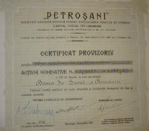 Petrosani Actiuni 500 Lei 1931