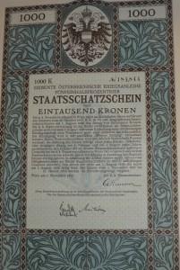 Staatsschatzschein 1000 Kronen 1917