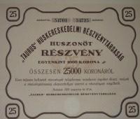 Taurus Részvény 1923 25.000 korona