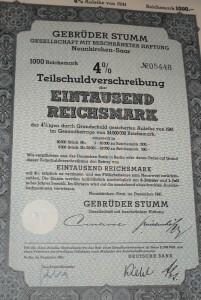 Teilschuldverschreibung 1.000 Reichsmark 1941