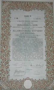 Járadékkölcsön Államadóssági Kötvény 1918 10.000 korona