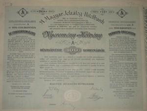 Magyar Jelzálog Hitelbank Nyeremény Kötvény 1906 100 korona