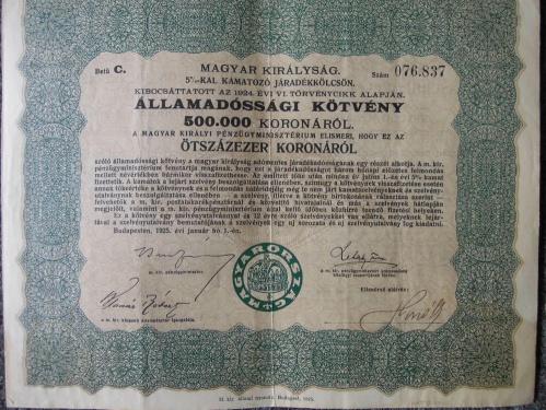 Államadóssági kötvény 500.000 korona 1925
