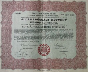 Államadóssági kötvény 125.000 korona 1925