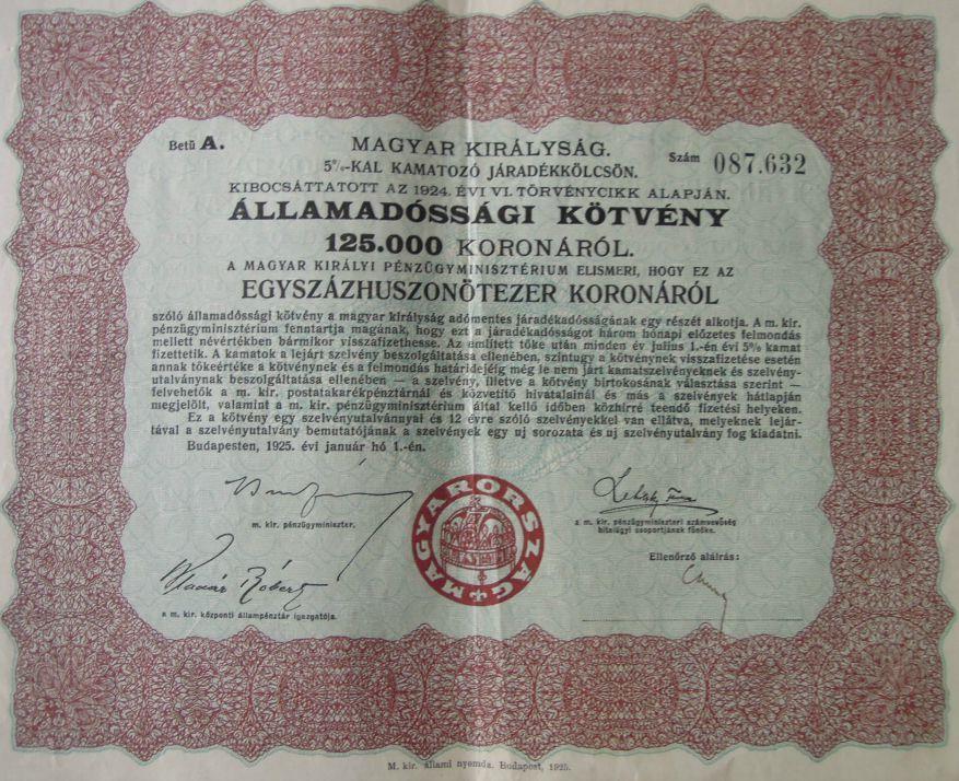 Államadóssági kötvény 125.000 korona 1925 akció