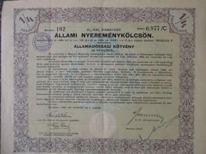 Állami nyereménykölcsön 50 pengő 1941