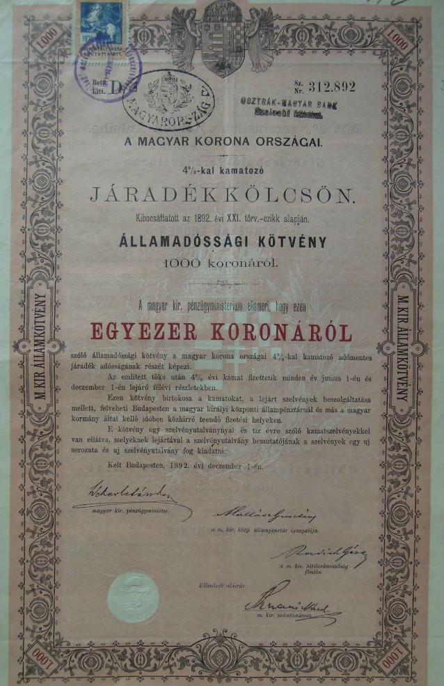 Járakékkölcsön 1892 Államadóssági kötvény