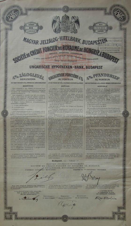 Magyar Jelzálog Hitelbank Záloglevél 1911 akció