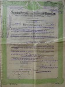 Triesti Általános Biztosító Generali kötvény 1925 akció