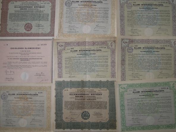 értékpapir nyereménykölcsön kötvény akció