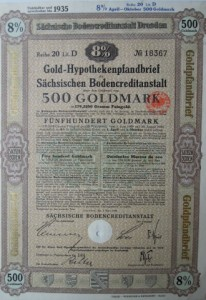 Gold-Hypothekenpfandbrief 500 Goldmark 1928
