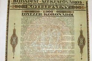 Budapest Székesfőváros Kötelezvény 1920