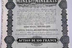 Compagnie de Mines et Minerais 1930 belga részvény