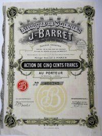 Fabrique De Soieries J. Barret 1929 Paris francia részvény