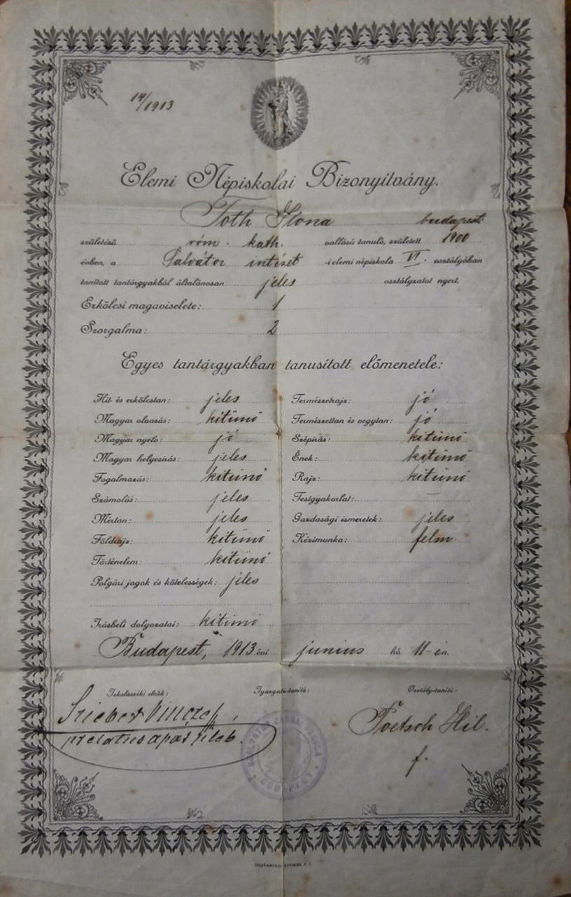 Elemi népiskolai bizonyítvány 1913 zárda
