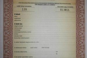 Első Danubius Közraktári jegy letéti szelvény