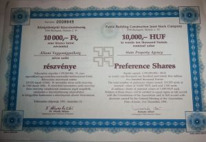 Középületépítő Részvénytársaság részvény 10000 Ft 1991