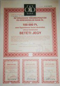 OTP Bank betéti jegy 100000 Ft 2001