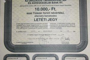 OTP Bank letéti jegy 1991 10.000 Ft