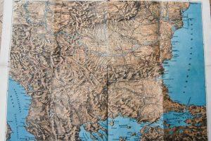 Panoráma térkép Balkán Duna 1877 Relief Karte Balkan Donau régi map