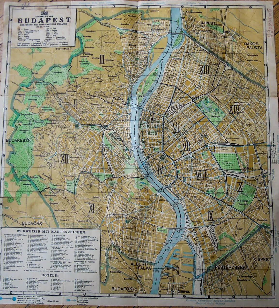 Régi Budapest térkép 2 oldalas német, 1910-20-as évek