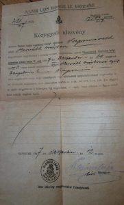Közjegyző idézvény 1897 Kaposvár