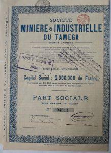 Tamega Bányászat és Ipar részvény 1923 Bruxelles