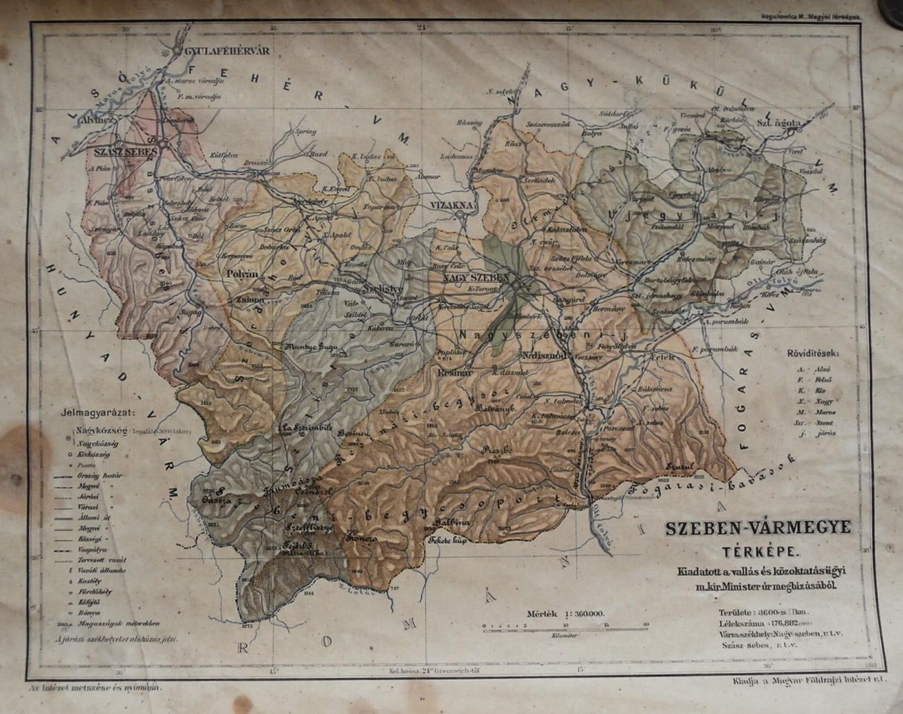 Szeben Vármegye régi térkép