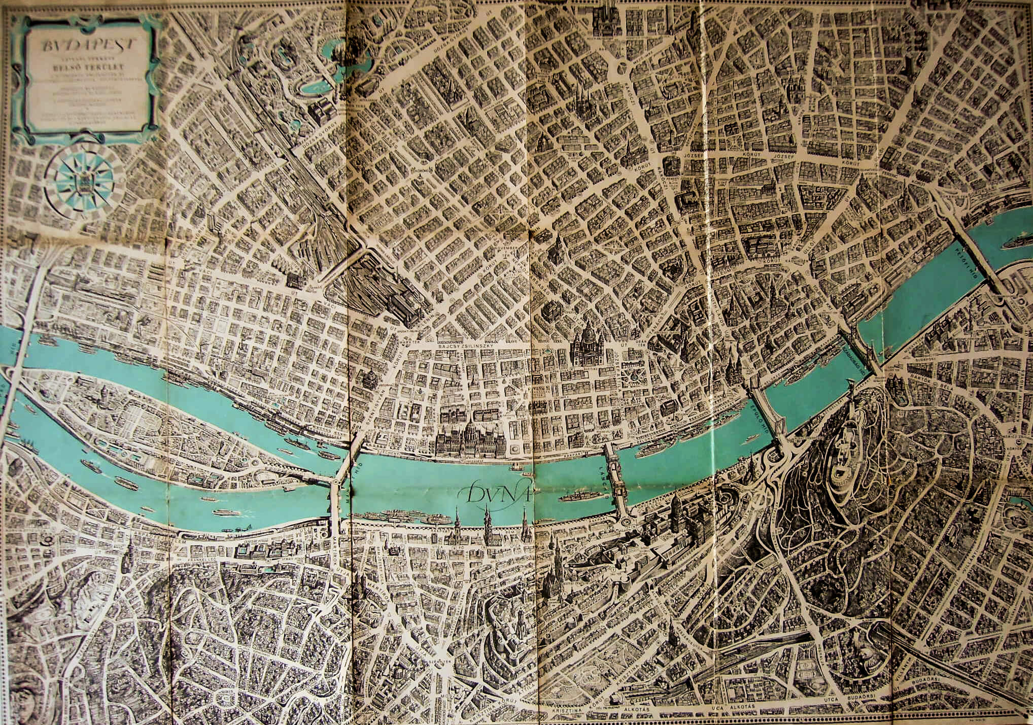 Budapest Panoráma régi térkép 1963