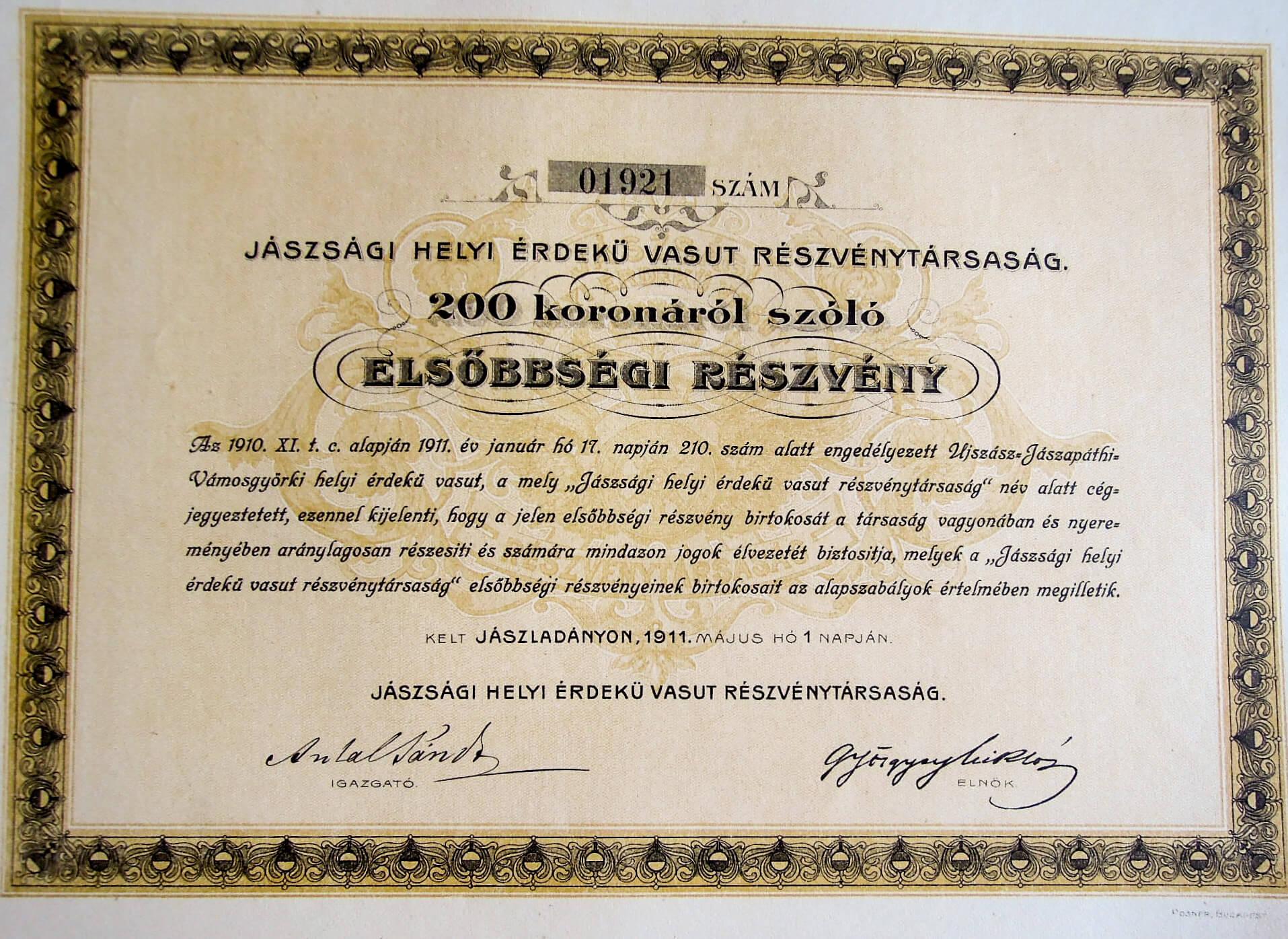 Jászság Helyi Érdekű Vasút Részvény 1911