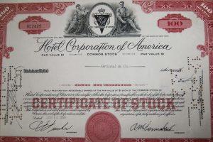 Hotel Corporation of America 1957 régi USA részvény