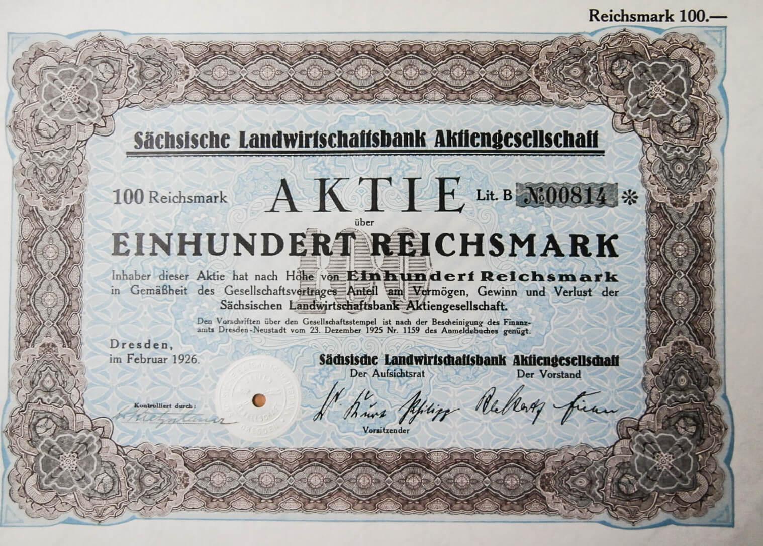 Sachsische LAndwirtschaaftsbank Aktiengesellschaft 1926 Aktie, régi német részvény, értékpapír,