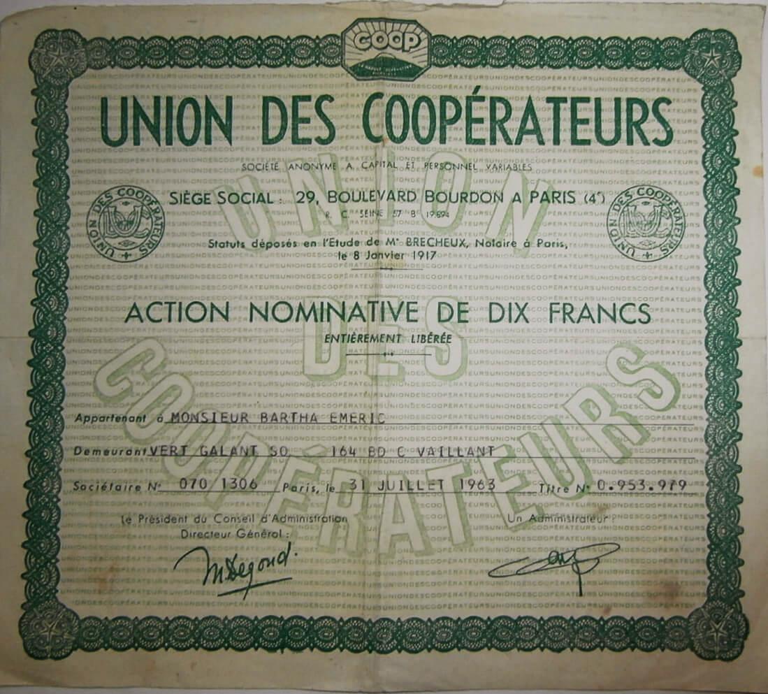 Szövetkezeti Egyesülés francia értékpapír 1963 Párizs